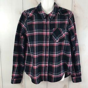 PAIGE Black & Pink Plaid Flannel Button Down Shirt